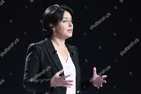 Candidate for the left-wing party primaries ahead of the 2017 presidential election, President of the Radical Left Party (PRG) Sylvia Pinel participates in the second televised debate in Paris, France, 15 January 2017. France's seven left-wing presidential candidates hold their second televised debate before the first round of their primary on January 22.