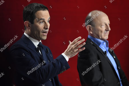Candidates for the left-wing party primaries ahead of the 2017 presidential election (L-R) former Education minister Benoit Hamon and President of the Democratic Front (Front Democrate) Jean-Luc Bennahmias participate in the second televised debate in Paris, France, 15 January 2017. France's seven left-wing presidential candidates hold their second televised debate before the first round of their primary on January 22.