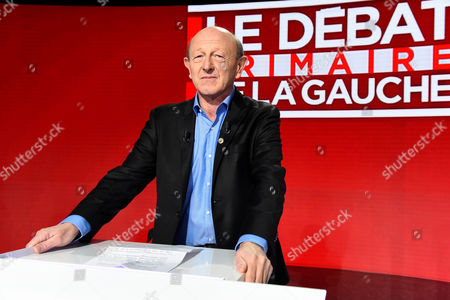 Stock Picture of Candidate for the French left's presidential primaries ahead of the 2017 presidential election, Jean-Luc Bennahmias, takes part in the second televised debate in Paris, France, . Seven competitors are bidding to be the Socialist Party's candidate in next spring's French presidential election