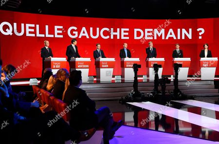 From left) Candidates for the French left's presidential primaries ahead of the 2017 presidential election, Francois de Rugy, Arnaud Montebourg, Benoit Hamon, Jean-Luc Bennahmias, Vincent Peillon, Manuel Valls and Sylvia Pinel take part in the second televised debate, in Paris, France, . Seven competitors are bidding to be the Socialist Party's candidate in next spring's French presidential election