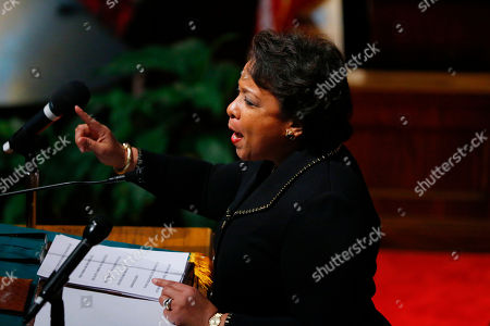 Attorney General Loretta Lynch speaks at the 16th Street Baptist Church, in Birmingham, Ala