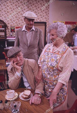 Bill Waddington (as Percy Sugden) Tom Mennard (as Sam Tindall) and Jill Summers (as Phyllis Pearce)