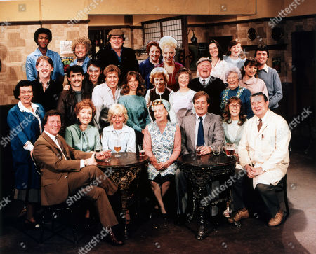 Cast group shot in the Rovers Return. Front row: Johnny Briggs (as Mike Baldwin), Eileen Derbyshire (as Emily Bishop), Lynne Perrie (as Ivy Tilsley), Jean Alexander (as Hilda Ogden), William Roache (as Ken Barlow), Anne Kirkbride (as Deirdre Barlow) and Bryan Mosley (as Alf Roberts) Middle Row: Helene Palmer (as Ida Clough), Kevin Kennedy (as Curly Watts), Michael Le Vell (as Kevin Webster), Nigel Pivaro (as Terry Duckworth), Christopher Quinten (as Brian Tilsley), Helen Worth (as Gail Tilsley), Barbara Knox (as Rita Fairclough), Thelma Barlow (as Mavis Riley), Bill Waddington (as Percy Sugden), Jill Summers (as Phyllis Pearce) and Susan Brown (as Connie Clayton) Back Row: Lisa Lewis (as Shirley Armitage), Elizabeth Dawn (as Vera Duckworth), William Tarmey (as Jack Duckworth), Betty Driver (as Betty Turpin), Julie Goodyear (as Bet Lynch), Caroline O'Neill (as Andrea Clayton), Jane Hazlegrove (as Sue Clayton) and Johnny Leeze (as Harry Clayton)