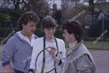 Michael Ball (as Malcolm Nuttall) Stephanie Tague (as Michelle Robinson) and Michael Le Vell (as Kevin Webster)