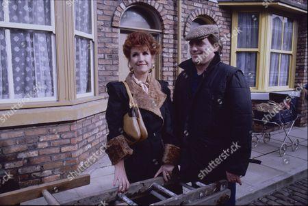 Marji Campi (as Dulcie Froggatt) and William Tarmey (as Jack Duckworth)