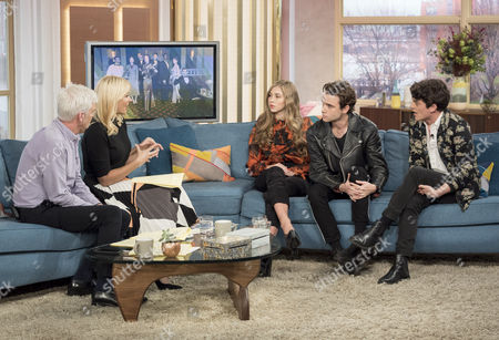 Phillip Schofield and Holly Willoughby with Emma Garland, Jamie Blackley and Edward Bluemel
