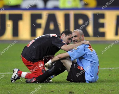 Stock Picture of Psg Player Jeremy Rothen Consoles Teammate Goalie Jerome Alonzo at the End of the Match Their Team Lost Against Lyon For the Coupe De France Final at Stade De France Saint Denis France 24 May 2008 Lyon Won 1-0