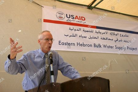 Mark Ward U S Agency For International Development (usaid) Senior Deputy Assistant Administrator For the Asia and the Near East Bureau Gives a Speech During the Reopening of the Usaid Water Project in the Ben Naaim Village Near the West Bank Town of Hebron 15 August 2007 the Project Was Stopped Because of the Political Situation in the Palestinian Territories and is Reopened Today