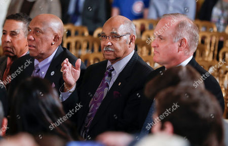Jose Cardenal, Ferguson Jenkins, Billy Williams, Ryne Sandburg Former Cubs players from left, Jose Cardenal, Ferguson Jenkins, Billy Williams and Ryne Sandburg, wait at their seats for President Barack Obama to begin a ceremony in the East Room of the White House in Washington, where the president honored the 2016 World Series Champion Chicago Cubs baseball team