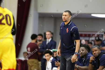 Nathan Hale's head coach Brandon Roy is seen against Oak Hill Academy during a high school basketball game at the 2017 Hoophall Classic, in Springfield, MA