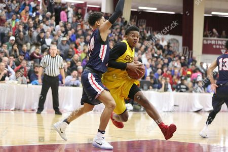 Billy Preston Oak Hill Academy's Devontae Shuler #20 in action against Nathan Hale during the second half of a high school basketball game at the 2017 Hoophall Classic, in Springfield, MA. Nathan Hale won 80-77