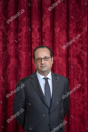 French President Francois Hollande during the Legion of Honour (Legion d'Honneur) ceremony awarded to US ambassador to France Jane Hartley (not pictured) at the Elysee Presidential Palace in Paris, France, 16 January 2017.