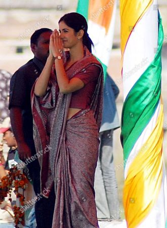 Bollywood Actress Katrina Kaif During the Shooting of Her Upcoming Film 'Rajneeti' in Bhopal India 10 February 2009 the Film Has Been Directed by Bollywood Director Prakash Jha