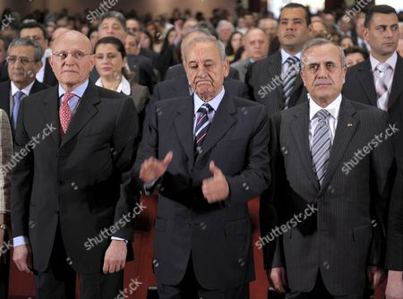 Lebanese President Michel Suleiman (r) Parliament Speaker Nabih Berri (c) and Tamam Salam Minister of Culture (l) During Opening of the Ceremony Announcing Beirut As the World Book Capital at Unesco Palace in Beirut Lebanon 25 April 2009