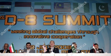 Malaysian Prime Minister Abdullah Ahmad Badawi (c) Accompanies by (l-r) Chief Adviser to the Government of Bangladesh Fakhruddin Ahmed Iranian President Mahmoud Ahmadinejad Pakistan Prime Minister Syed Yousuf Raza Gillani and Indonesian Foreign Minister Hassan Wirajuda Answers a Question During a Joint Press Conference After the End of the Summit Meeting of the 25th Session of Group of Eight Islamic Developing Countries (d-8) Summit in Kuala Lumpur Malaysia 8 July 2008 the D-8 is Made Up of Bangladesh Egypt Indonesia Iran Malaysia Nigeria Pakistan and Turkey It Was Established in 1997 As a Forum to Enhance Cooperation in Various Areas to Improve the Economic Status of Member States