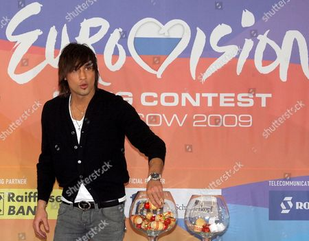 Russian Singer Dima Bilan Draws Lots of the Eurovision Song Contest 2009 in Moscow Russia 16 March 2009 After Russian Dima Bilan's Last Year Victory Russia Will Host Eurovision 2009 in May