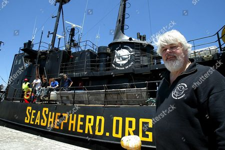 Captain Paul Watson From Canada Stands On the Dock Next to the Canadian Flagged Vessel Farley Mowat Detained by South African Authorities in Cape Town Harbour Thursday 26 January 2006 the Canadian Registered Ship Owned by the Activist Sea Shepherd Conservation Society Was Detained When It Docked Two Days Ago After Returning From the Antarctic On a Mission of Detering Japanese Whalers