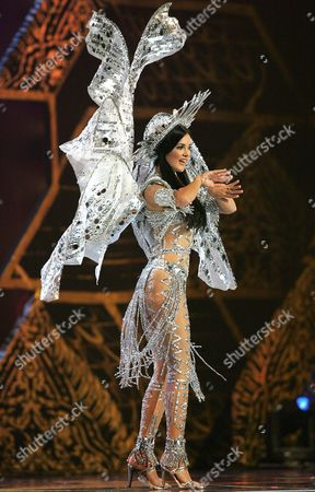 Miss Universe 2005 Contestant Monica Spear From Maracaibo Venezuela Performs During the National Costume Competition in Bangkok On Wednesday 25 May 2005 the Final Decision Who Will Become Miss Universe 2005 Will Be Announced in Bangkok On May 31