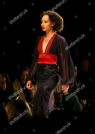 A Model Wearing a 2006 Creation by Designer Louis Verdad Walks the Catwalk at the Mercedes-benz Fashion Week in Culver City Ca On Sunday March 19 2006