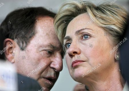 New York Senator Hillary Rodham Clinton (r) Speaks with New York Daily News Publisher Mort Zuckerman at a Rally For Israel's Right to Self-defense and to Fight Terrorism in New York City Monday July 17 2006