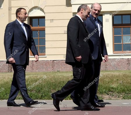 Stock Photo of Presidents (l-r) Ilkham Aliev of Azerbaijan Robert Kocharian of Armenia and Alexander Lukashenko of Belarus Arrive For a Commonwealth of Independent States (cis) Summit in St Petersburg Russia 10 June 2007