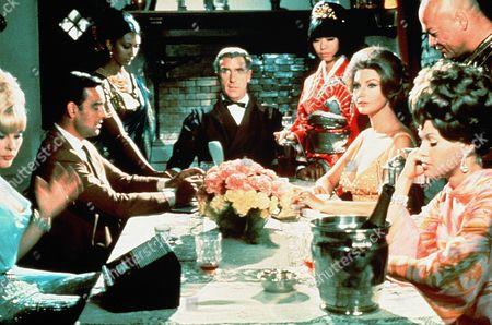 'Deadlier Than the Male'  - Carl Petersen (Nigel Green), Eckman (Elke Sommer), Hugh Drummond (Richard Johnson) , the Indian Assassin (Didi Sydow), the Japanese Assassin (Yasuko Nagazumi), Penelope (Sylvia Koscina) and Grace (Suzanna Leigh) and Chang (Milton Reed).