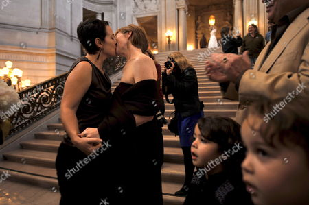 Stock Photo of Jennifer Chaiken (l) Kisses Her Partner Sam Hamilton After Their Marriage Vows in the Rotunda of the San Francisco City Hall in San Francisco California Usa 04 November 2008 a Steady Flow of Same-sex Couples Arrived at City Hall to Get Married California Proposition 8 Would Change the California Constitution to Eliminate the Right of Same-sex Couple to Marry and Provides That Only Marriage Between a Man and a Woman is Valid Or Recognized in California