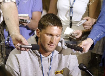 U S Swimmer Lenny Krayzelburg Speaks with the Media a Day Prior to the Start of the United States Olympic Swim Trials in Long Beach California 06 July 2004 Next Month in Athens Krayzelburg Will Try to Repeat His Three Gold-medal Feat of the 2000 Sydney Games