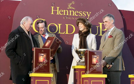 (l-r) Trevor Hemmings Owner of Hennessy Winner 'Trabolgan' Horse Trainer Nick Henderson Lady Gabriella Windsor and Maurice Hennessy at the Hennessy Cognac Gold Cup at Newbury Race Course On Saturday 26 November 2005