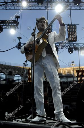 French Singer and Guitarist Thomas Dutronc Son of French Singer Jacques Dutronc Performs Live On Stage During His Concert in the Arena in Nimes (gard) France 22 July 2008 He Played During First Part of the Show by French Singer Vanessa Paradis