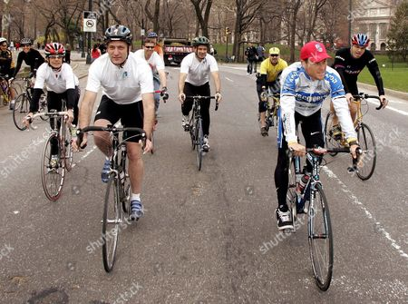 Olympian and Six -time Tour De France Champion Lance Armstrong (r) Takes a Short Bike Ride with Deputy Mayor and Founder of New York's 2012 Bid Dan Doctoroff (l) to Show His Support For New York City's Bid For the 2012 Olympic Games As in New York's Central Park Thursday 07 April 2005