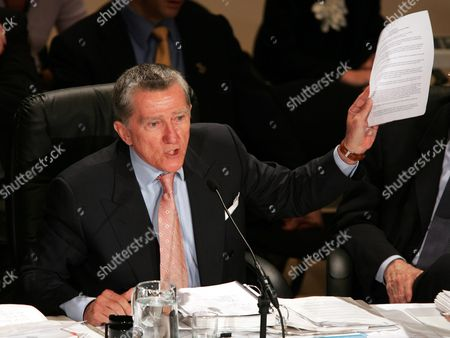 Commissioner John F Lehman Waves a Paper in the Air As He Gets Into a Heated Exchange with the Former Heads of the New York Police Department the New York Fire Department and the Office of Emergency Management During the Eleventh Public Hearing of the National Commission On Terrorist Attacks Upon the United States in New York City 18 May 2004