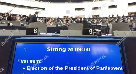 An electronic board displays agenda of the   European Parliament sitting with 'Election of the President of Parliament' on it during the Paliament sitting in Strasbourg, France, 17 January 2017. Today the Parliament vote for a new president, as Martin Schultz announced that he will run for German Parliament in the upcoming German elections.