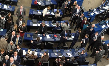 European Parliament members wait to vote for the new EP President at the European Parliament in Strasbourg, France, 17 January 2017. Today the Parliament vote for a new president, as Martin Schultz announced that he will run for German Parliament in the upcoming German elections.
