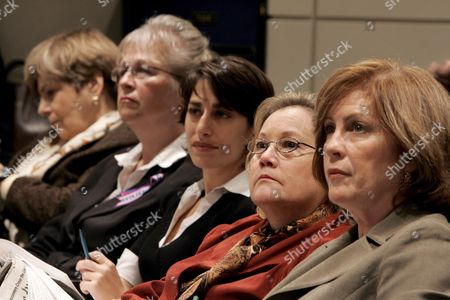 A Group of U S Women Who All Lost Family Members in the 9/11 Terrorist Attacks (r to L) Mary Fetchet Carie Lemack Carol Ashley Kathy Wisniewski and a Fifth Unidentified Woman Listen to a Press Conference Held by Members of the 9/11 Public Discourse Project On the Governments Response to the Commissions Recommendations On Foreign Policy Public Diplomacy and Nonproliferation at the Ronald Reagan Building in Washington Dc On Monday 14 November 2005 the Former 9/11 Commissioners Said the Response Has Been Too Slow and There is Still a Lot of Work to Be Done to Make the Public Safe From the Threat of Terrorist Attacks