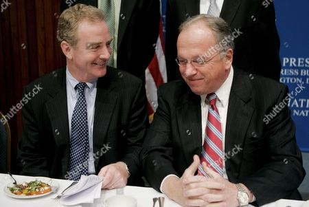 Rep Chris Van Hollen (democrat- Maryland) (l) and Rep Tom Reynolds (republican- New York) Chairman of the National Republican Congressional Committee (r) During a Luncheon at the National Press Club in Washington Dc On Wednesday 18 October 2006