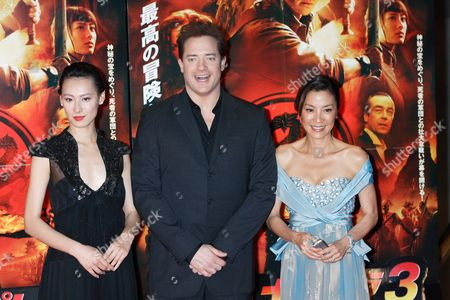 Isabella Leong, Brendan Fraser and Michelle Yeoh