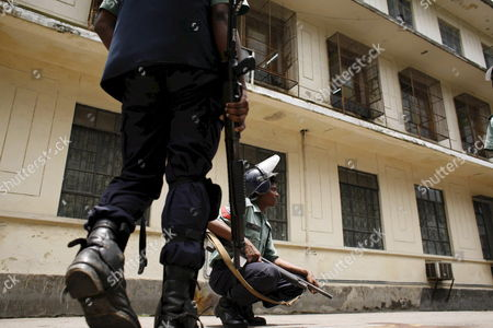 Bangladeshi Policemen Stand Guard at Dhaka University Campus in Bangladesh 17 July 2007 Three Small Bombs Exploded at Dhaka University Causing Panic But No Casualties As Students Tried to Call a Strike Over the Arrest of Former Prime Minister Sheikh Hasina Wajed Police Said