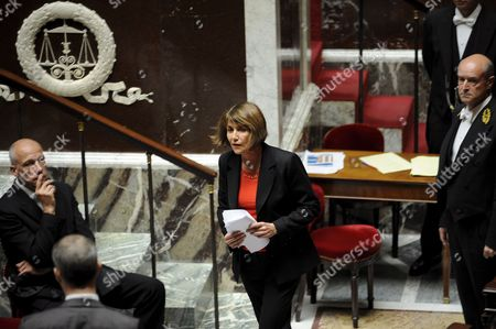 French Culture Minister Christine Albanel Walks Back to Her Seat After She Delivers a Speech at the French National Assembly in Paris France 29 April 2009 As French Deputies Debate a New Version of a Bill That Would Ban Illegal Downloaders From Internet in a New Effort to Combat Film and Music Piracy This Bill Backed by the Entertainment Industry and Opposed by Consumer Groups Has Been Earlier Rejected Due to a the Absence of Ump Parliamentarians in a Surprise Setback For President Nicolas Sarkozy's Government