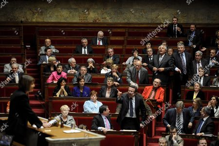 French Socialists and Communists Deputies React As They Listen to the Speech of French Culture Minister Christine Albanel (l) at the French National Assembly in Paris France 29 April 2009 As French Deputies Debate a New Version of a Bill That Would Ban Illegal Downloaders From Internet in a New Effort to Combat Film and Music Piracy This Bill Backed by the Entertainment Industry and Opposed by Consumer Groups Has Been Earlier Rejected Due to a the Absence of Ump Parliamentarians in a Surprise Setback For President Nicolas Sarkozy's Government Epa/yoan Valat