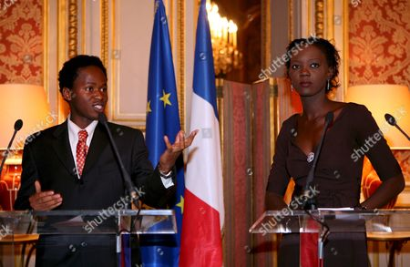 State Secretary in Charge of Foreign Affairs and Human Rights Rama Yade (r) and 26-year-old Former Sierra Leone Child Soldier Ishmael Beah (l) Answer Media Questions During a Press Conference About Child Soldiers at Quai D'orsay Paris France 16 January 2008 There Are an Estimated Three Hundred Thousand Child Soldiers Around the World Every Year the Number Grows As More Children Are Recruited For Use in Active Combat
