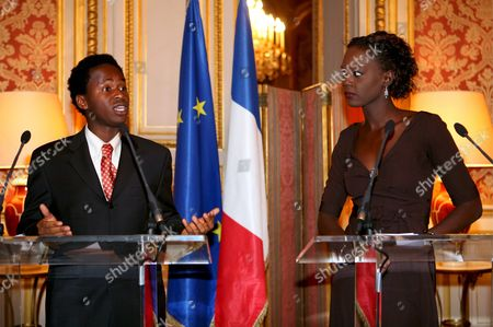 State Secretary in Charge of Foreign Affairs and Human Rights Rama Yade (r) and 26-year-old Former Sierra Leone Child Soldiers Ishmael Beah (l) Answer Media Questions During a Press Conference About Children Soldier at Quai D'orsay Paris France 16 January 2008 There Are an Estimated Three Hundred Thousand Child Soldiers Around the World Every Year the Number Grows As More Children Are Recruited For Use in Active Combat