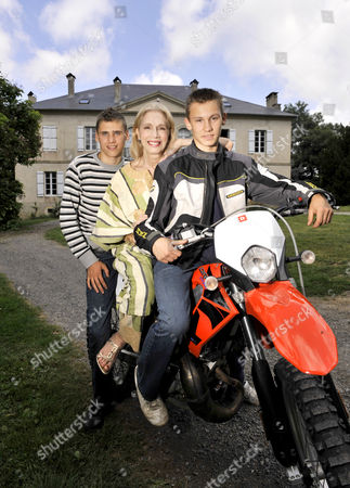 Stock Picture of Lady Colin Campbell with her adopted sons Misha and Dimi