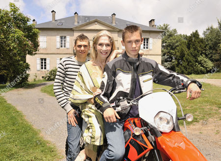 Stock Photo of Lady Colin Campbell with her adopted sons Misha and Dimi