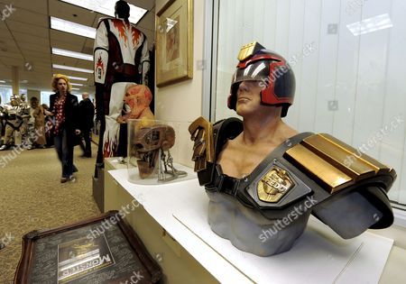 Helmet and Armor Worn by Actor Sylvester Stallone in the Film 'Judge Dredd' (r) is One of Thousands of Pieces of Hollywood Memorabilia to Be Auctioned in Los Angeles California Usa 01 May 2009 Wax Figures From the Hollywood Wax Museum As Well As Items From the Forrest J Ackerman Horror and Sci-fi Collection Will Be Sold to the Highest Bidders