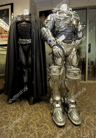 Stock Photo of 'Batman/sonar Batsuit Worn by Val Kilmer in the Film Batman Forever (l) and 'Mr Freeze' Costume Worn by Arnold Schwarzenegger in the Film Batman and Robin (r) Are Two of Thousands of Pieces of Hollywood Memorabilia to Be Auctioned in Los Angeles California Usa 01 May 2009 Wax Figures From the Hollywood Wax Museum As Well As Items From the Forrest J Ackerman Horror and Sci-fi Collection Will Be Sold to the Highest Bidders