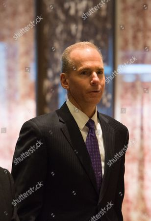 Dennis A. Muilenburg, president and chief executive officer of The Boeing Company, arrives to Trump Tower in New York City