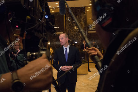 Dennis A. Muilenburg, president and chief executive officer of The Boeing Company, speaks to the media Trump Tower
