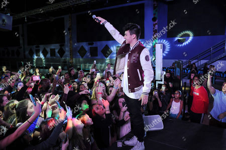 Editorial image of Daniel Skye and DJ Frankie P at radio Station Y-100 at Extreme Action Park, Fort Lauderdale, USA - 16 Jan 2017