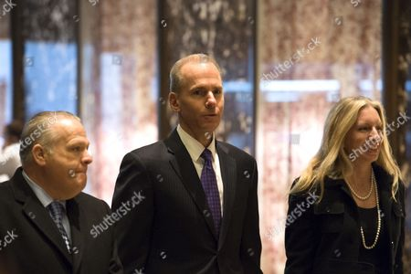 Stock Image of Dennis A. Muilenburg, Boeing president and chief executive officer, arrives for a meeting in Trump Tower in New York City, NY, USA, 17 January 2017. US President Elect Donald Trump is still holding meetings upstairs at Trump Tower just 3 days before the inauguration.